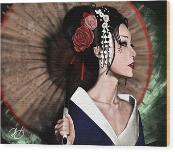 The Geisha Wood Print by Pete Tapang