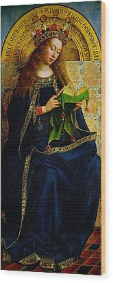 The Ghent Altarpiece The Virgin Mary Wood Print by Jan and Hubert Van Eyck