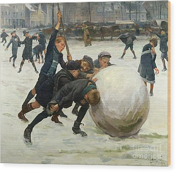 The Giant Snowball Wood Print by Jean Mayne