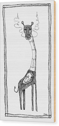 The Giraffe And The Rat Wood Print by Zelde Grimm