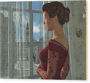 The Girl At The Window Wood Print