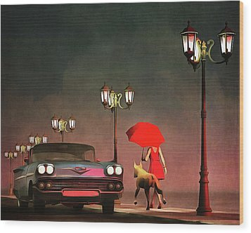 The Girl In Red Wood Print