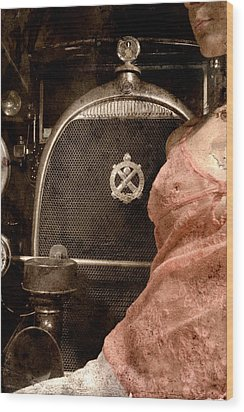 Wood Print featuring the photograph The Girl On The Background Of Vintage Car. by Andrey  Godyaykin