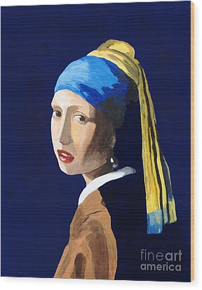 Wood Print featuring the painting The Girl With A Pearl Earring After Vermeer by Rodney Campbell