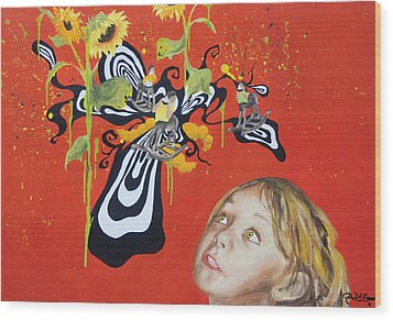 The Girl With Kaleidoscope Eyes Wood Print by Jacqueline DelBrocco