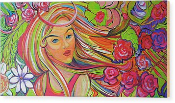 The Girl With The Flowers In Her Hair Wood Print