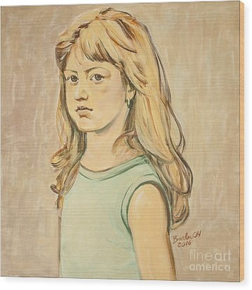 Wood Print featuring the painting The Girl With The Golden Hair by Olimpia - Hinamatsuri Barbu