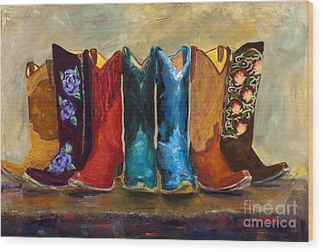 The Girls Are Back In Town Wood Print by Frances Marino