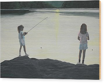 The Girls At The Lake Wood Print by Candace Shockley