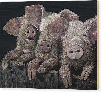 The Girls Wood Print by Linda Hiller
