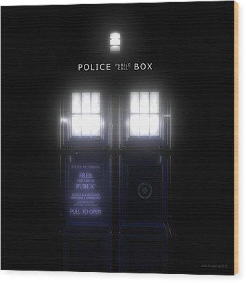 The Glass Police Box Wood Print