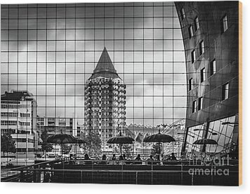 Wood Print featuring the photograph The Glass Windows Of The Market Hall In Rotterdam by RicardMN Photography
