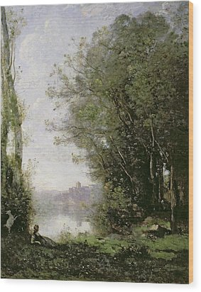 The Goatherd Beside The Water  Wood Print by Jean Baptiste Camille Corot