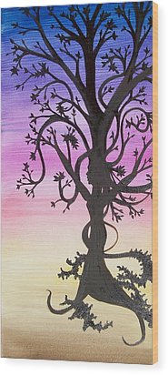 The Goddess Tree Wood Print by Amy Lauren Gettys