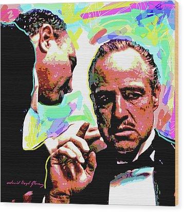 The Godfather - Marlon Brando Wood Print by David Lloyd Glover