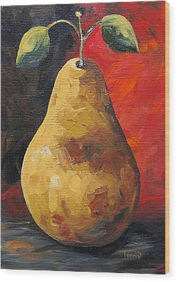 The Gold Pear II  Wood Print by Torrie Smiley