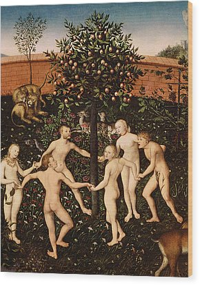 The Golden Age Wood Print by Lucas Cranach