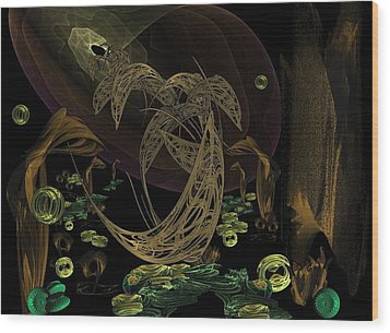 The Golden Dolphins Wood Print by Ricky Kendall