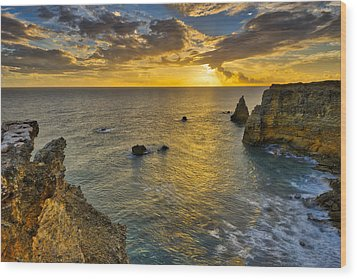Wood Print featuring the photograph The Golden Hour - Cabo Rojo - Puerto Rico by Photography By Sai
