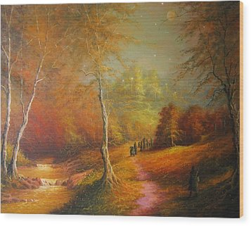 Golden Forest Of The Elves Wood Print