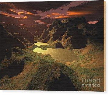 The Golden Lake Wood Print by Gaspar Avila