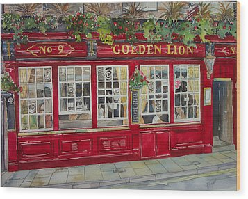 The Golden Lion Pub Wood Print by Victoria Heryet