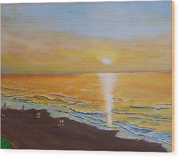 The Golden Ocean Wood Print