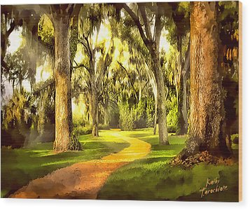 Wood Print featuring the photograph The Golden Road by Kathy Tarochione
