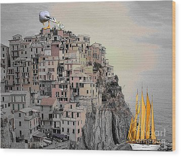 The Golden Sails Wood Print