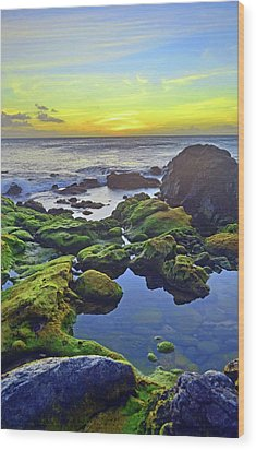 Wood Print featuring the photograph The Golden Skies Of Molokai by Tara Turner