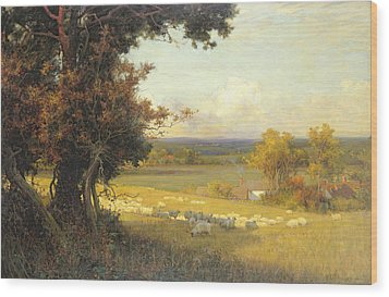 The Golden Valley Wood Print by Sir Alfred East