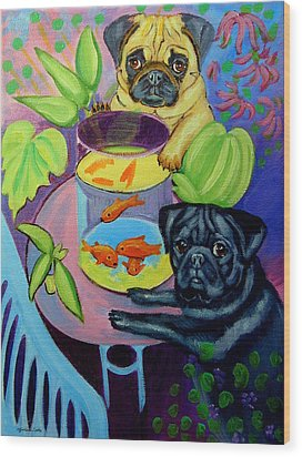 The Goldfish Bowl - Pug Wood Print by Lyn Cook