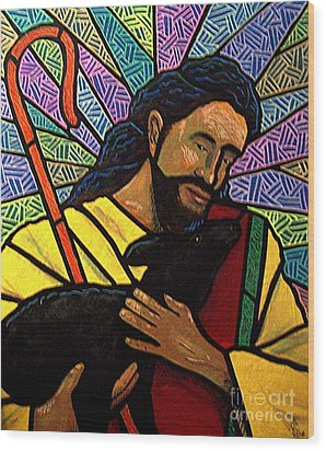 Wood Print featuring the painting The Good Shepherd - Practice Painting One by Jim Harris