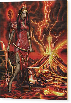The Goodess Pele Of Hawaii Wood Print by James Christopher Hill