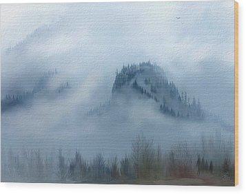 The Gorge In The Fog Wood Print by Debra Baldwin