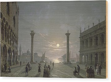 The Grand Canal From Piazza San Marco Wood Print by Henry Pether