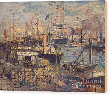 The Grand Dock At Le Havre Wood Print by Monet