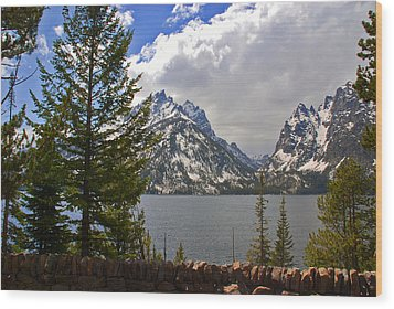 The Grand Tetons And The Lake Wood Print by Susanne Van Hulst