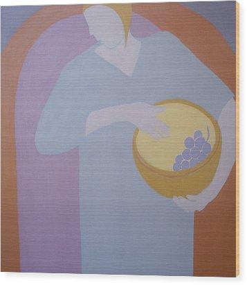 The Grape Bearer Wood Print by Renee Kahn