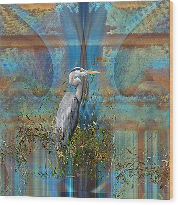 The Great Blue Heron In Abstract Wood Print