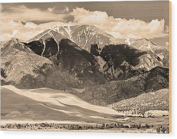 The Great Colorado Sand Dunes In Sepia Wood Print by James BO  Insogna