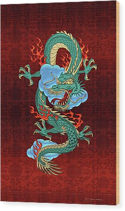 The Great Dragon Spirits - Turquoise Dragon On Red Silk Wood Print by Serge Averbukh