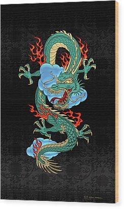 The Great Dragon Spirits - Turquoise Dragon On Black Silk Wood Print by Serge Averbukh