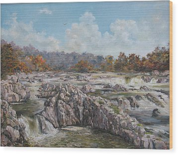 The Great Falls Wood Print by Tigran Ghulyan