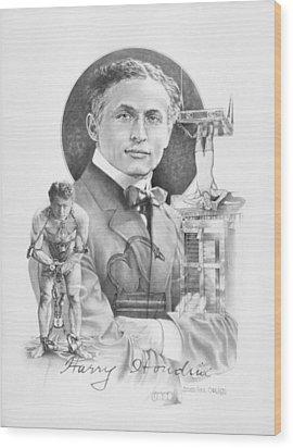 The Great Houdini Wood Print by Steven Paul Carlson