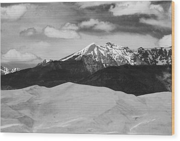The Great Sand Dunes And Sangre De Cristo Mountains - Bw Wood Print by James BO  Insogna