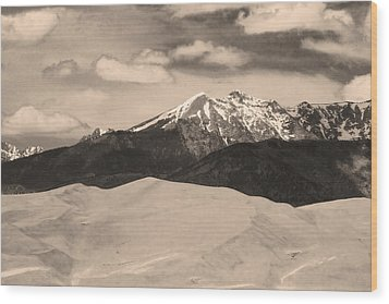 The Great Sand Dunes And Sangre De Cristo Mountains - Sepia Wood Print by James BO  Insogna
