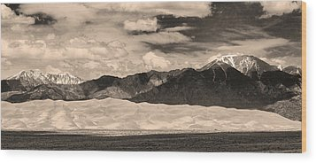 The Great Sand Dunes Panorama 2 Sepia Wood Print by James BO  Insogna