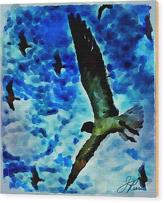 Wood Print featuring the painting The Great Seagull by Joan Reese