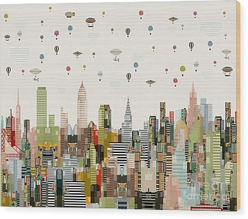 Wood Print featuring the painting The Great Wondrous Balloon Race by Bri B